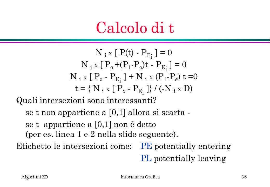 Calcolo di t N i x [ P(t) - PEi ] = 0 N i x [ Pø +(P1-Pø)t - PEi ] = 0